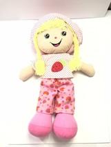 "Goffa Strawberry Large Rag Doll Plush 26"" Yarn Hair Pink Shirt Hat Pants - $35.93"