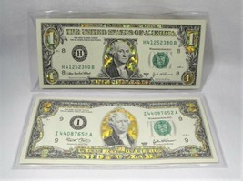 2003 Gold Hologram Colorized $1 & $2 Federal Reserve Notes PC-600 - $31.86