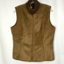 Ann Taylor Womens Zip Vest Size Large Petite Brown Moleskin Faux Fur Lined - $28.80