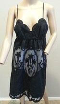 Betsey Johnson Black Mesh Embroidered Floral Cameo Lace Scalloped Slip D... - $2.179,83 MXN