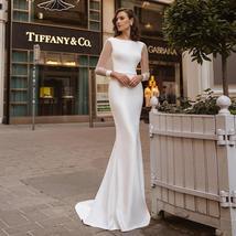 Simple Elegant Solid Satin Mermaid Satin Sweep Train Wedding Dress