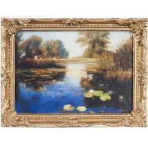 DOLLHOUSE Framed Picture of Lily Pond on a Bright Day Miniature #1 - $7.52