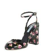 NIB Prada Floral Black Patent Leather Ankle Strap Block Heel Pumps 8.5 39 $790 - $345.00