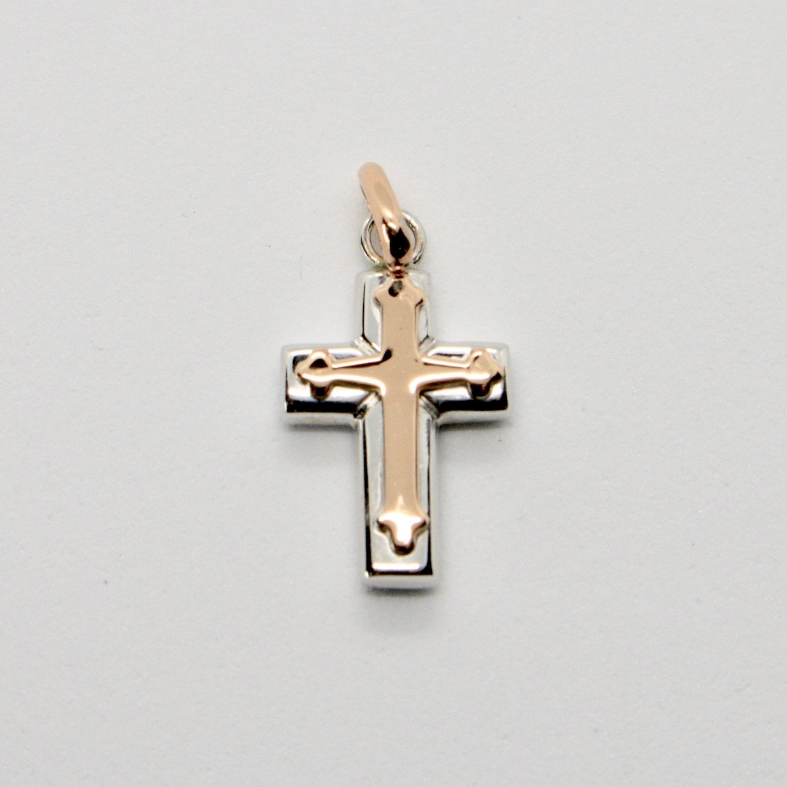 18K WHITE AND PINK ROSE GOLD CROSS STYLIZED VERY LUSTER MADE IN ITALY 1 INCHES