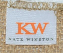 Kate Winston Brand Brown Burlap Monogram Black White T Garden Flag image 4