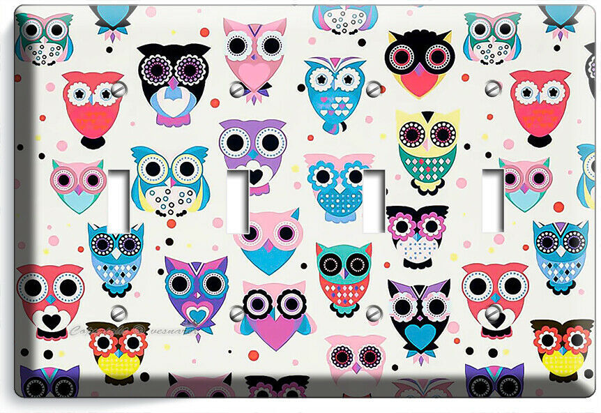 CUTE LITTLE OWLS PATTERN LIGHT SWITCH OUTLET WALL PLATES NURSERY BABY ROOM DECOR