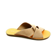 Marc Fisher Womens Bomie Flat Slide Sandal Suede Medium Brown Sz 6M NEW - $39.59