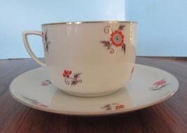 made in czechlovakia flower Teacup/ Saucer Set Gold Trim - $14.85