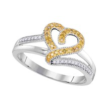 10kt White Gold Round Yellow Colored Diamond Heart Love Fashion Ring 1/8... - £127.69 GBP