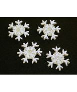 Button covers snowflake for winter holiday white with silver glitter - $9.95