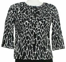 ST. JOHN Black Bright White Animal Print Wool Blend Knit Crop Jacket 2 - $499.99