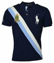 Polo Ralph Lauren Mens Big Pony Custom Slim Fit Crest Polo Shirt Blue, M 3054-6 - $71.27