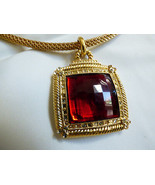 Fashion gold tone mesh collar necklace faceted red square pendant necklace - $24.75