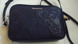 Michael Kors Crossbody Black Embossed Leather Lace Medium - $120.00