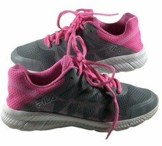 Fila Size 6 Running cross training Sneakers Gray & Pink lace up Athletic... - $22.76