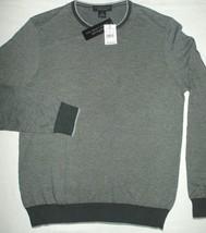 Heather Gray Sweater Bloomingdales Mens Crewneck Birdseye Tonal Trim Cotton M - $19.75
