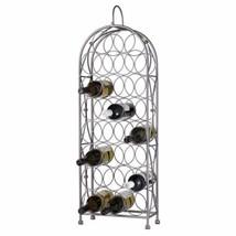 NEW Silver Metal Scroll Standing Wine Rack Holds 23 Bottles Lover Gift S... - $74.15