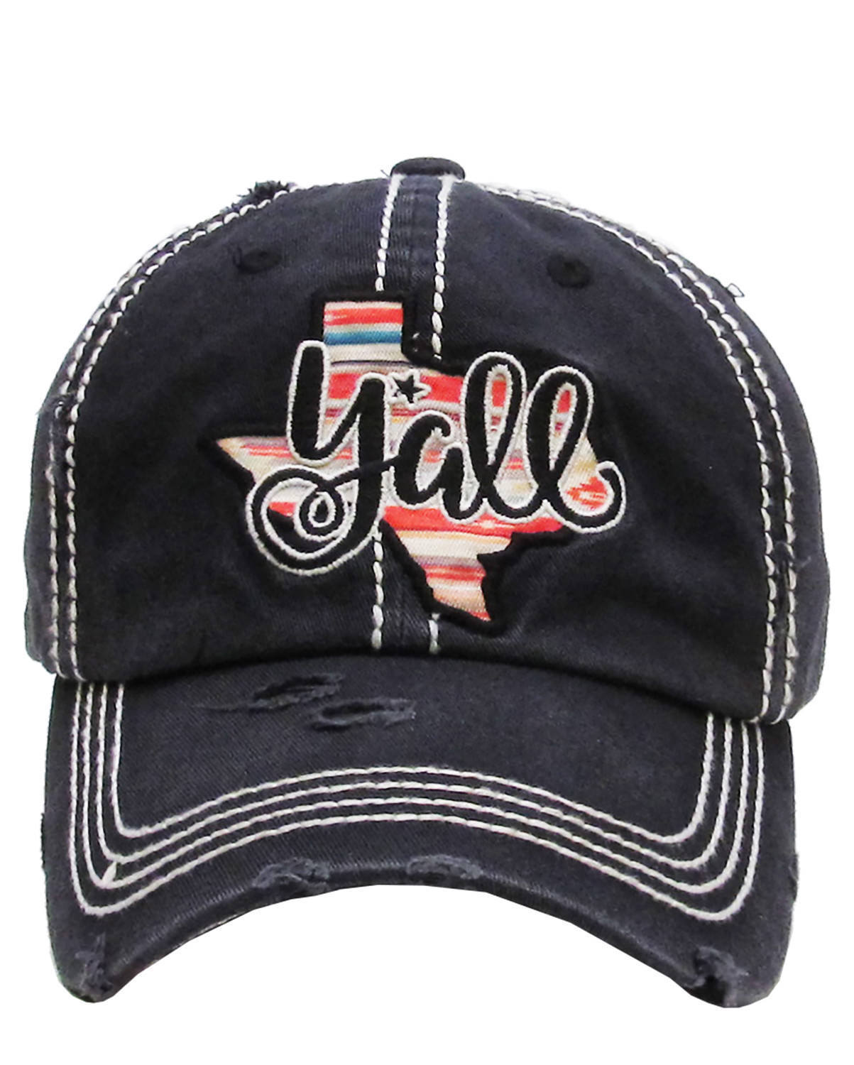 Distressed Embroidered Texas State Y'all Baseball Hat Vintage Style