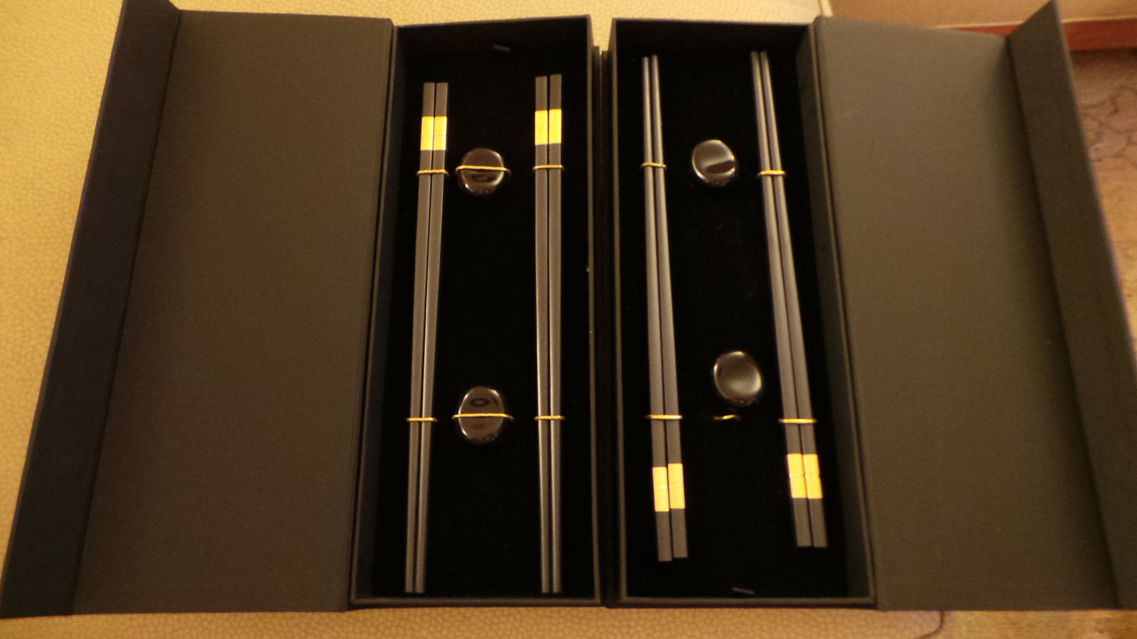 Primary image for unused Donna Karan Lenox Set of 4 Deluxe Chopsticks w 4 Rests in orig Boxes NIB