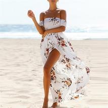 Women Lace Beach Boho Maxi Sundress Sleeveless Long Dress Wrap Chest Printing Dr - $20.00
