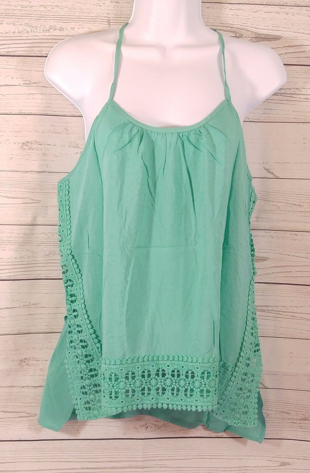 Primary image for Loveriche Women's Mint  Crochet Spaghetti Strap Top Size-Large New