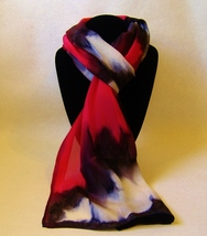 Hand Painted Silk Scarf White Black Red Oblong Womens Unique Hair Head S... - $56.00
