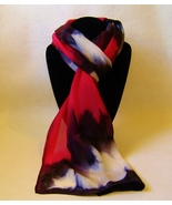 Hand Painted Silk Scarf White Black Red Oblong Womens Unique Hair Head Scarves - $56.00