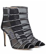 SPECTACULAR NEW $1,995 JIMMY CHOO BLACK MESH ANKLE BOOTS WITH RHINESTONES - $1,195.00