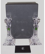 """EXQUISITE PAIR OF SIGNED WATERFORD CRYSTAL LISMORE 8"""" CANDLESTICKS IN BOX - $210.37"""