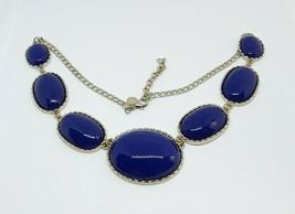 J CREW Blue Purple Lucite Gold Tone Chain Necklace EUC - $12.19