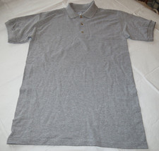 Gildan Activewear Ultra Blend adult mens short sleeve Polo shirt S Grey Hthr NOS - $14.35