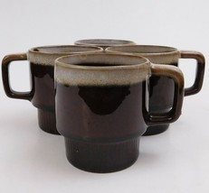 4 Brown Drip Stoneware Cups Mugs Japan - $27.72