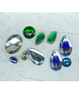 Glitz Galore 10 Assorted Vintage Large Glass Rhinestone Sew-Ons Craft Je... - $6.00