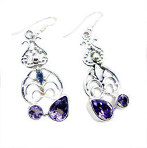 Amethyst 925 Sterling Silver Earring elegant Purple handcrafted SEAME-23... - $24.38