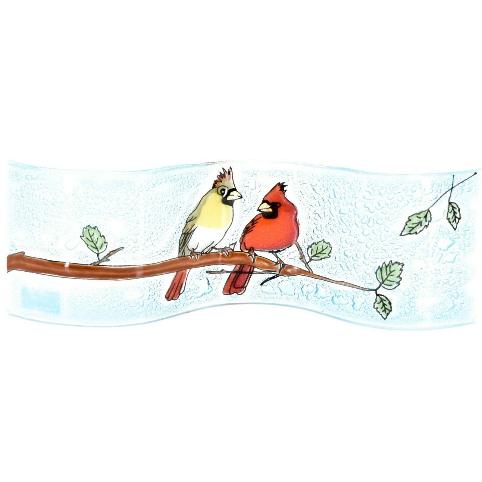 Fused Art Glass Cardinal Couple Birds Wavy Decor Sun Catcher Handmade Ecuador