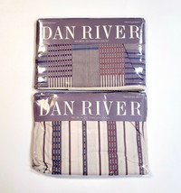 Vintage Dan River Bancroft Twin Sheets Flat & Fitted Multi-Stripe Fits 3... - $42.04