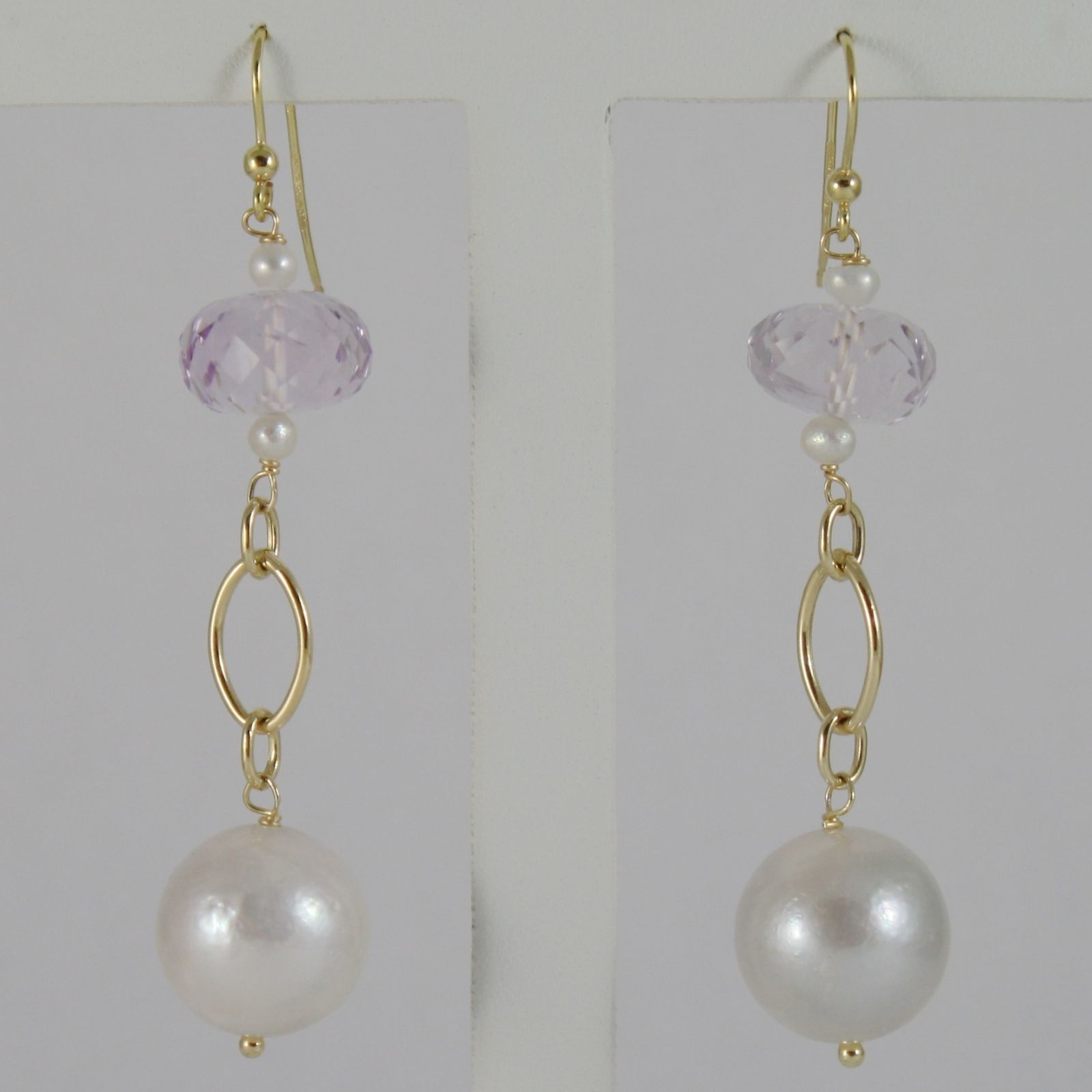 18K YELLOW GOLD PENDANT EARRINGS WITH BIG 12 MM WHITE FW PEARLS AND AMETHYST
