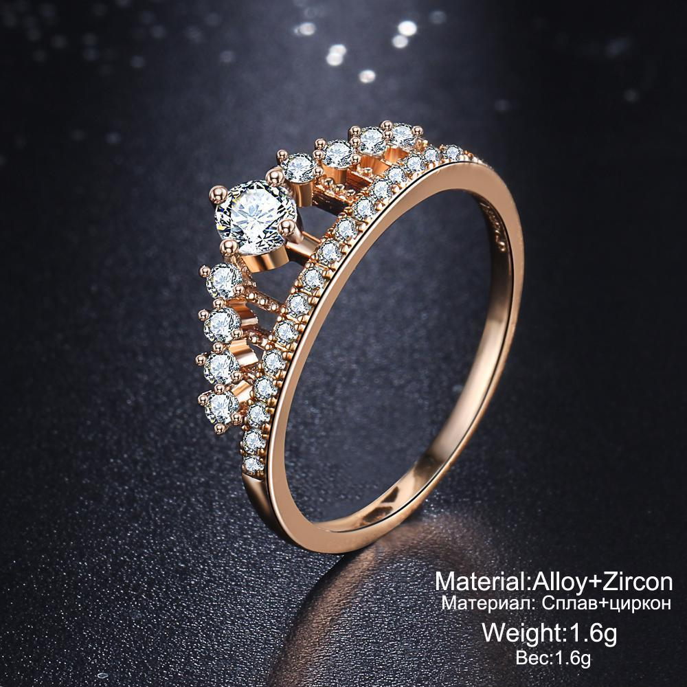 Cubic Zirconia Crystal Fashions Crown Shape Ring For Women Engagement Ring Type