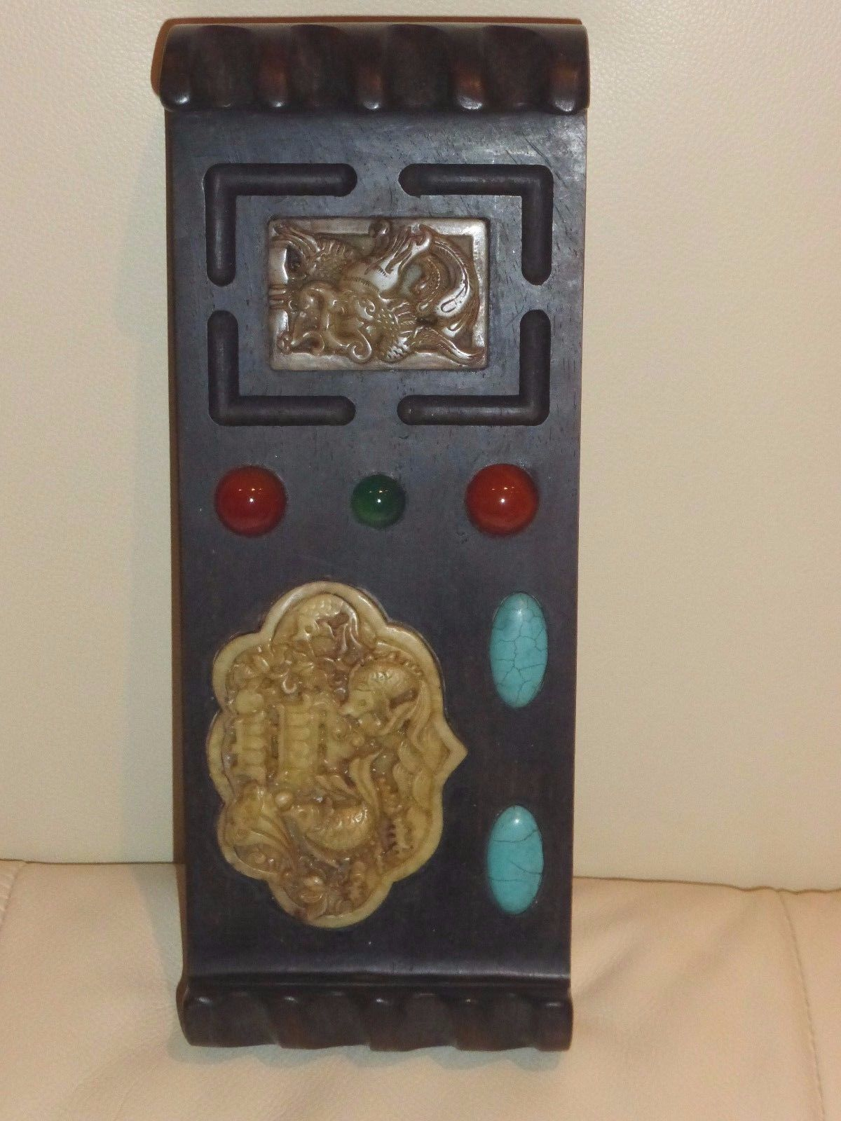 ANTIQUE CHINESE WOOD BRUSH REST WITH CARVED JADE & APPLIED STONES