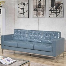 Hercules Lacey Series Contemporary Gray LeatherSoft Sofa w/Stainless Ste... - $1,444.66