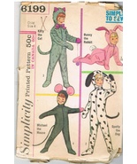 Vintage Simplicity 6199 Sewing Pattern for Zip Front Children's Costume - $5.99
