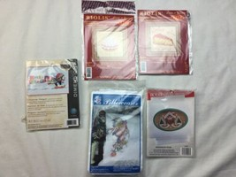 Small counted cross stitch kits Lot Penguin Christmas Pillowcase Pie - $14.00