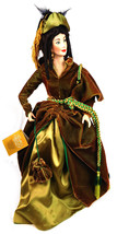 Franklin Mint Heirloom Porcelain Scarlett O'Hara Doll Gone with the Wind... - $247.45