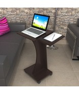 Espresso Laptop Rolling Desk Table Stand Notebook Computer Mobile Portab... - $49.40