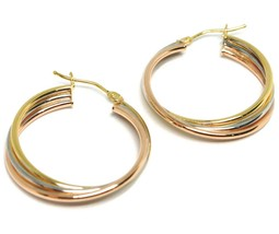 Earrings Circle White Gold, Pink, Yellow 750 18K, Twisted, 3 Tubes, 2.8 CM image 2