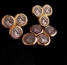KJL Vintage Brooch & earrings - Ancient coin set - silver Roman coin earrings -  - $155.00