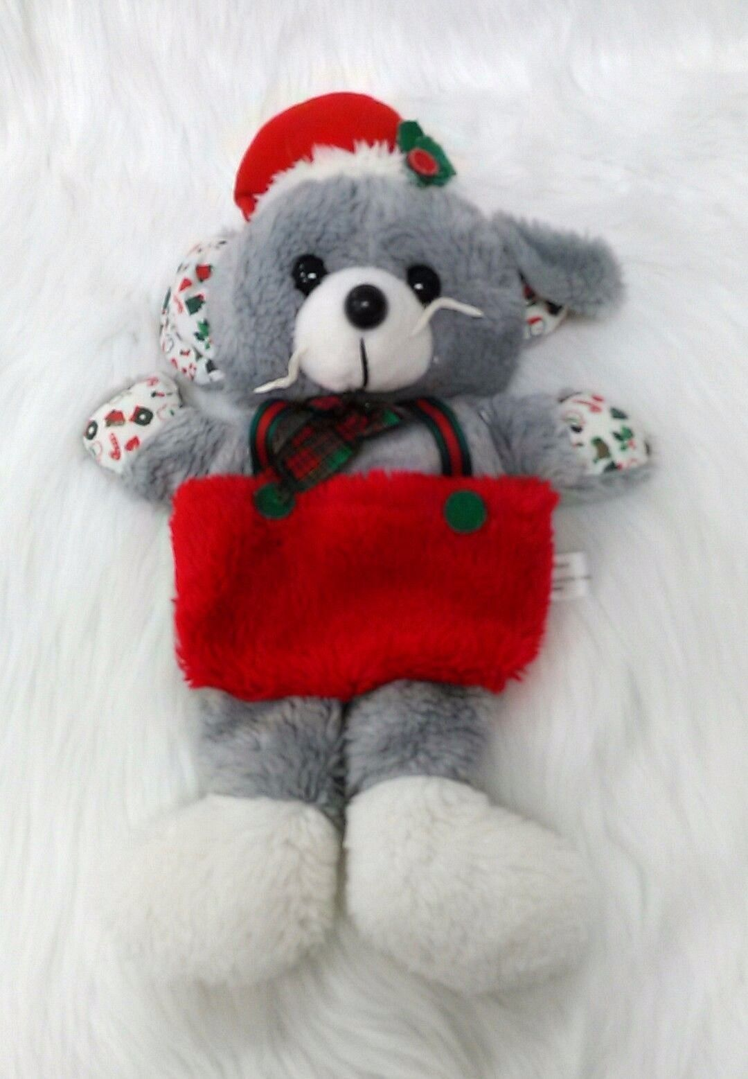 """Vintage Mouse Christmas Stocking Plush 16"""" Holiday Green Gray Red B202"""