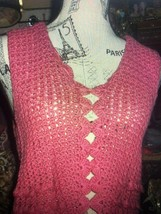 LORD & TAYLOR Pretty In Pink Crochet Wool Blouse Size 40 - $16.83