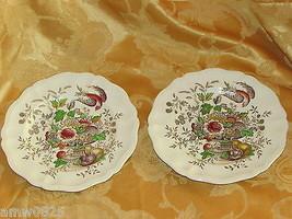 "Royal Doulton Hampshire 8 5/8"" Salad Plates Bird Urn Fruit Flowers D6141 Vintage - $26.43"
