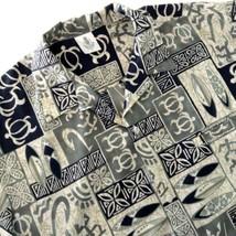 Royal Creations Hawaiian Aloha Shirt Tapa Print Surf Boards Turtles Gree... - $34.60